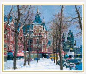 画像:11-12月 運河沿いの並木(オランダ) 欧羅巴を描く 小田切訓 2018年カレンダー