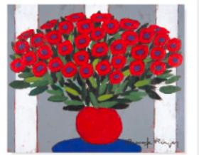 画像:1-2月 赤い花、赤い花瓶、ブルーの丸テーブル ロジェ・ボナフェ作品集 2018年カレンダー