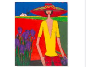 画像:5-6月 摘んだアイリスを手に下の道を歩くく女 ロジェ・ボナフェ作品集 2018年カレンダー