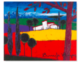 11-12月 ラベンダー畑と菜の花畑の間の農家と赤い木 ロジェ・ボナフェ作品集 2018年カレンダーの画像