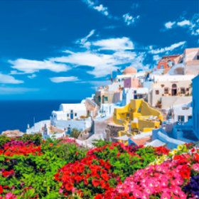 画像:3-4月 サントリーニ島(ギリシャ) ワイドヨーロッパ(フィルムカレンダー) 2018年カレンダー