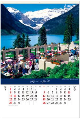 画像:7-8月 レイクルイーズ(カナダ) 世界のリゾート(フィルムカレンダー) 2018年カレンダー