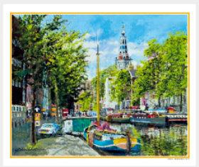 画像:5-6月 南教会のある運河(オランダ) ヨーロッパの印象(フィルムカレンダー) 2018年カレンダー