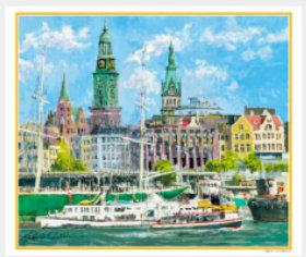 画像:7-8月 ハンブルク港(ドイツ) ヨーロッパの印象(フィルムカレンダー) 2018年カレンダー