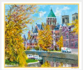 画像:9-10月 河畔の聖堂(オランダ) ヨーロッパの印象(フィルムカレンダー) 2018年カレンダー