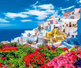 画像:3-4月 サントリーニ島(ギリシャ) 世界の名勝(フィルムカレンダー・小) 2018年カレンダー