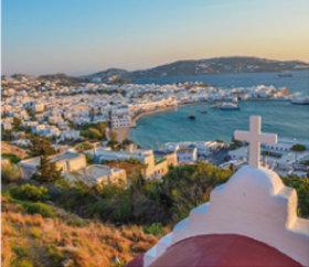 画像:2月 ミコノス島(ギリシャ) ファンタジーワールド(B) 2018年カレンダー