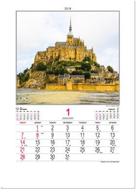 画像:1月 モンサンミシェル(フランス) ファンタジーワールド(A) 2018年カレンダー