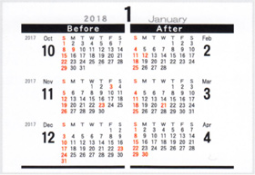 画像:裏面 デザインデスク 2018年カレンダー