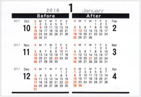 画像:裏面 シンプルデザインデスク 2018年カレンダー