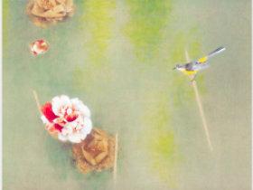 画像:3-4月 上村松篁「水温む」 日本画巨匠名品集 2018年カレンダー