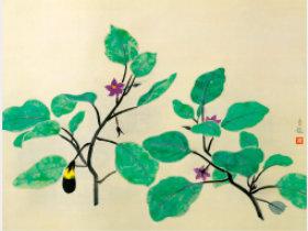 画像:7-8月 小林古径「茄子」 日本画巨匠名品集 2018年カレンダー