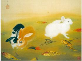 画像:11-12月 堂本印象「兎」 日本画巨匠名品集 2018年カレンダー