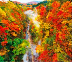 画像:秋田県 小安峡の紅葉 日本の朝 2019年カレンダー