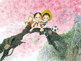 画像:中島潔作品「桜橋 夢」 風の詩 中島潔作品集(フィルムカレンダー) 2019年カレンダー