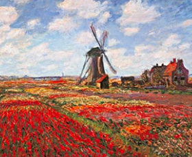 画像:クロード・モネ作品「風車とチューリップ畑」 パリ・オルセー名作選(フィルムカレンダー) 2019年カレンダー