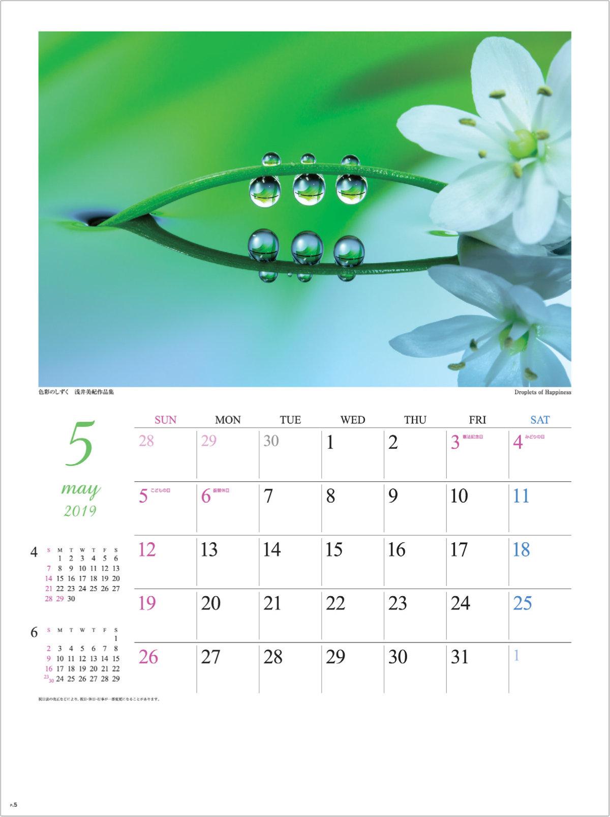 画像:浅井美紀 写真作品「Droplets of Happiness」 色彩のしずく・浅井美紀作品集 2019年カレンダー