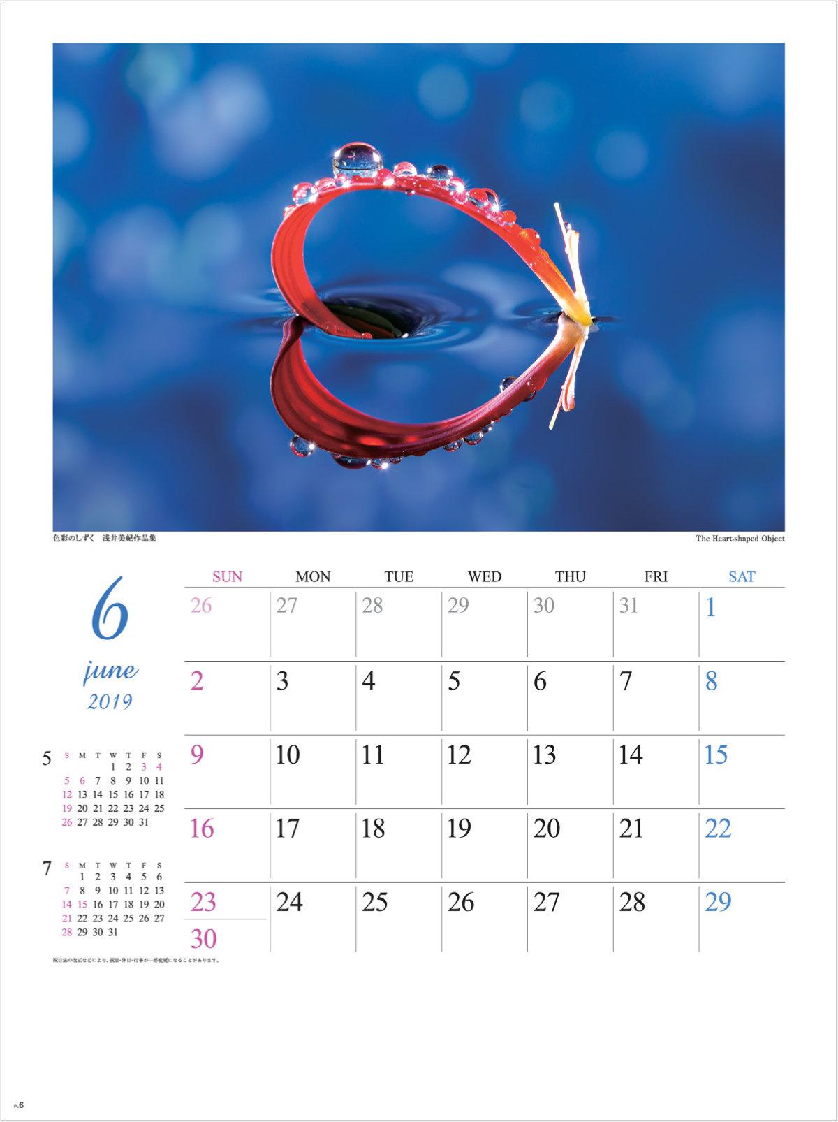 画像:浅井美紀 写真作品「The Heart Shaped Object」 色彩のしずく・浅井美紀作品集 2019年カレンダー