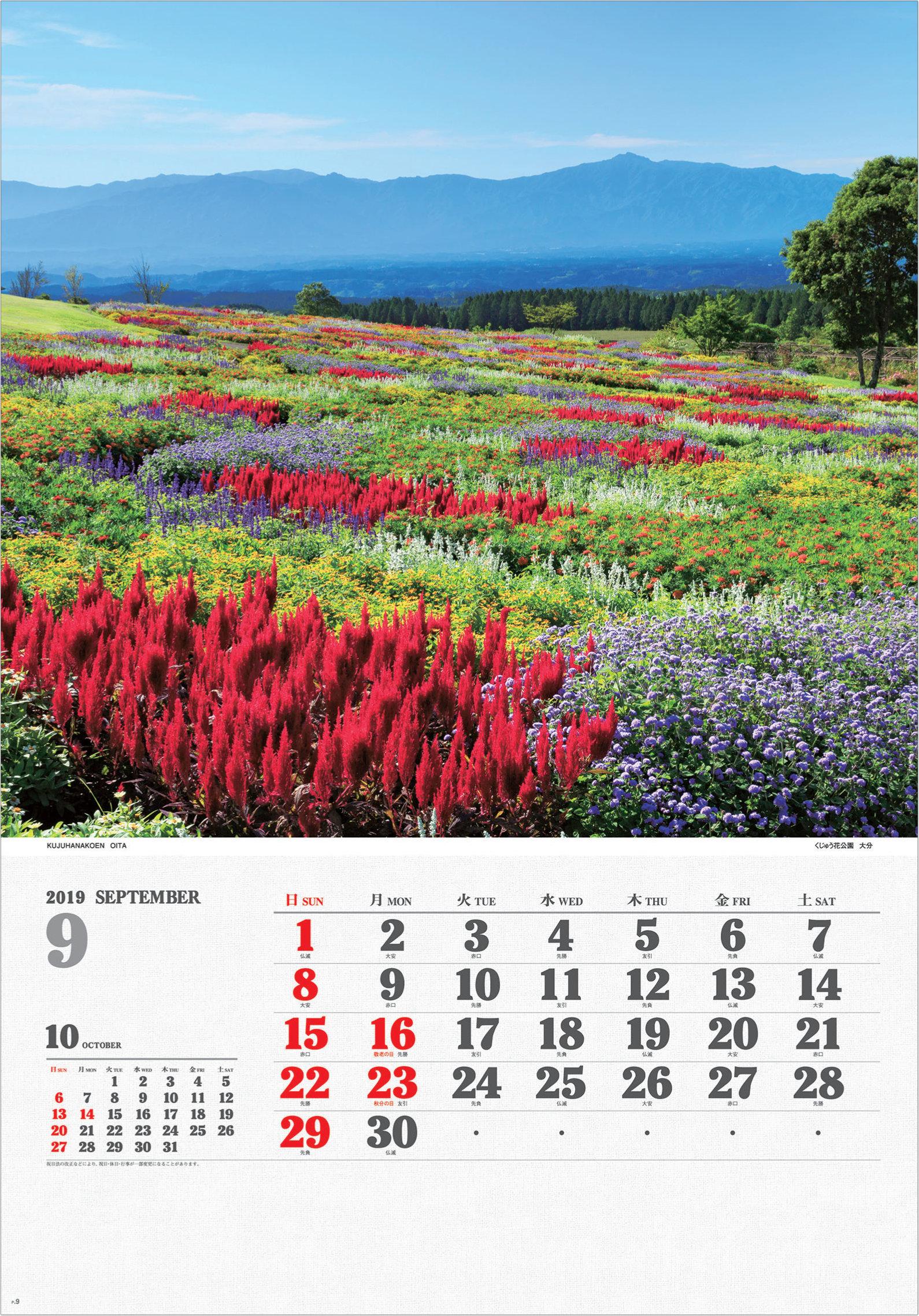 画像:大分県のくじゅう花公園のサルビア ワイドニッポン十二選(フィルムカレンダー) 2019年カレンダー
