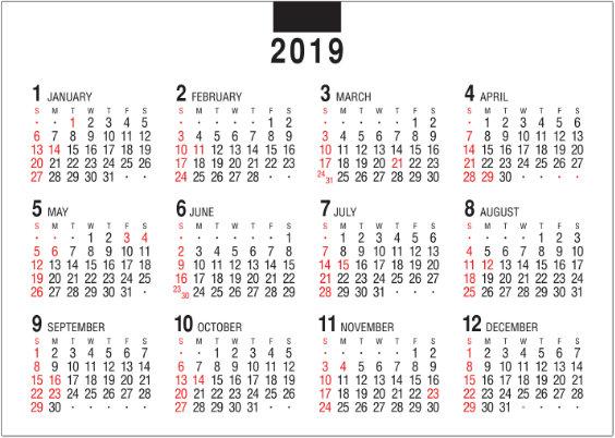 画像: デスクスタンド・文字 2019年卓上カレンダー