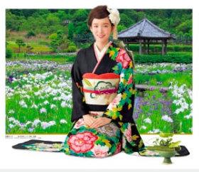 画像:飯豊まりえ・永沢花しょうぶ園 女優・きものと庭園 2019年カレンダー