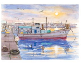 画像:高﨑尚昭 作品「漁港の朝」 水彩画・高﨑尚昭作品集 2019年カレンダー