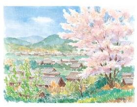 画像:高﨑尚昭 作品「里の春」 水彩画・高﨑尚昭作品集 2019年カレンダー
