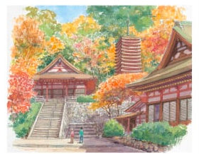 画像:高﨑尚昭 作品「談山神社」 水彩画・高﨑尚昭作品集 2019年カレンダー
