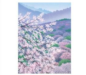 画像:小暮真望作品「花宴千本桜」 小暮真望版画集 2019年カレンダー