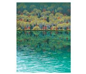 画像:小暮真望作品「湖面に映る秋風景」 小暮真望版画集 2019年カレンダー