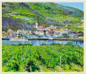 画像:小田切訓 作品「ドナウの町(オーストリア)」 欧羅巴を描く  小田切訓  2019年カレンダー