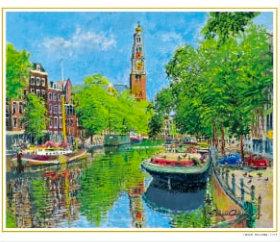 画像:小田切訓 作品「鳩のいる運河(オランダ)」 欧羅巴を描く  小田切訓  2019年カレンダー