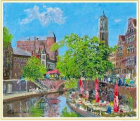 画像:小田切訓 作品「夏のユトレヒト(オランダ)」 欧羅巴を描く  小田切訓  2019年カレンダー