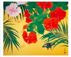 画像:森田りえ子作品「ハイビスカスと蝶」 森田りえ子作品集 2019年カレンダー