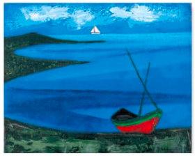 画像:ロジェ・ボナフェ作品「白い舟」 ロジェ・ボナフェ作品集 2019年カレンダー
