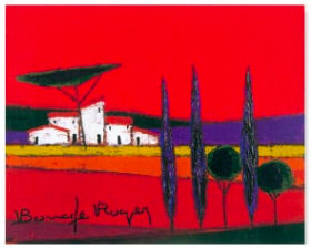 画像:ロジェ・ボナフェ作品「紫色の大地に立つ家々」 ロジェ・ボナフェ作品集 2019年カレンダー