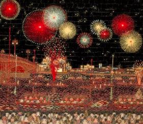 画像:山下清作品「両国の花火」 山下清作品集 2019年カレンダー