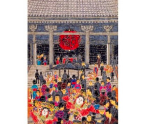 画像:山下清作品「浅草寺の年の暮」 山下清作品集 2019年カレンダー