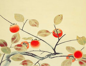 画像:小林古径 作品「柿」 日本画巨匠名品集 2019年カレンダー