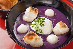 紫芋のおしるこ~牛乳アイス添え~
