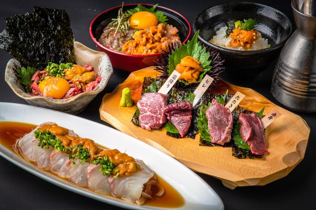 """注目のヘルシー肉・馬刺しに、日本料理の真髄・松皮造りの鯛に、 罪悪感そっちのけの""""痛風トリオ""""まで、雲丹尽くし!!『薩摩ごかもん』「雲丹フェア」開催!"""