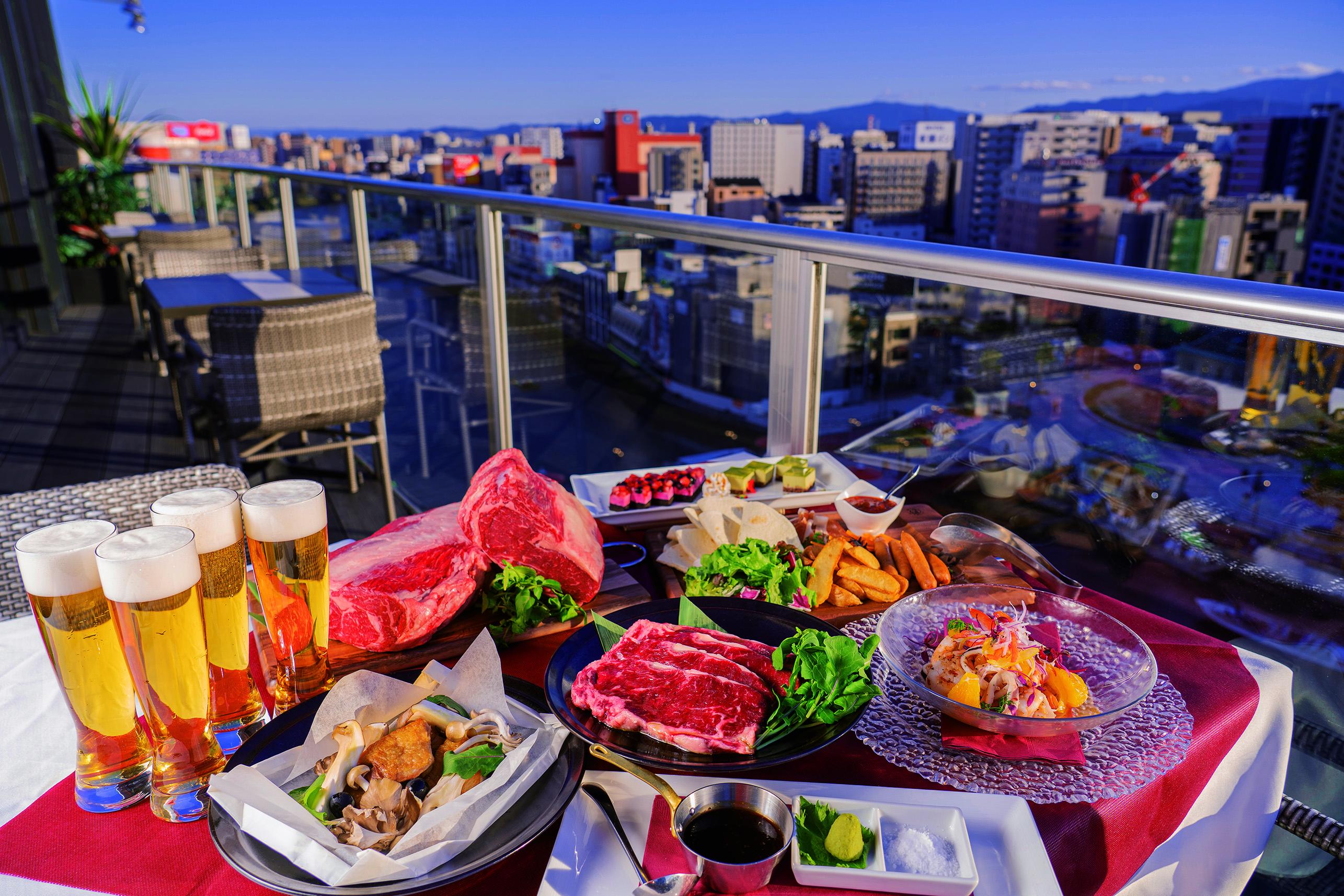 福岡中州の夕景~夜景が楽しめる特等席で「国産サーロイン」を贅沢にセルフBBQ!~[es]Rooftop Garden BAGUS NAKASU~
