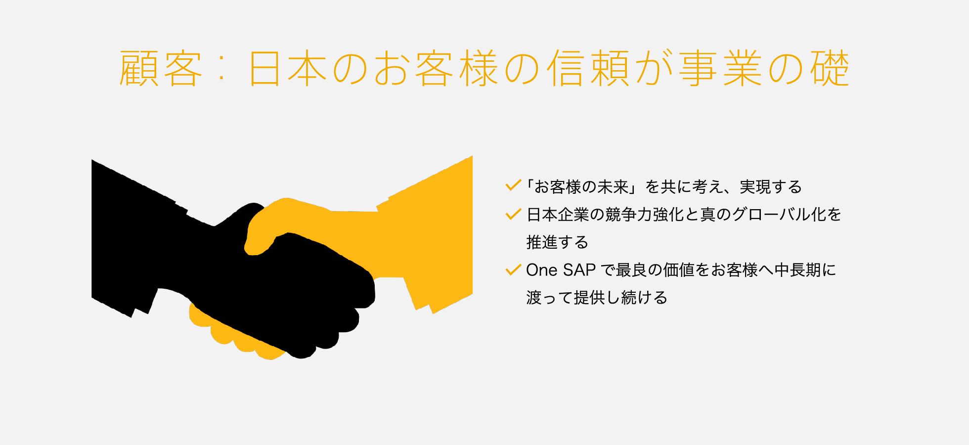 顧客:日本のお客さまの信頼が事業の礎