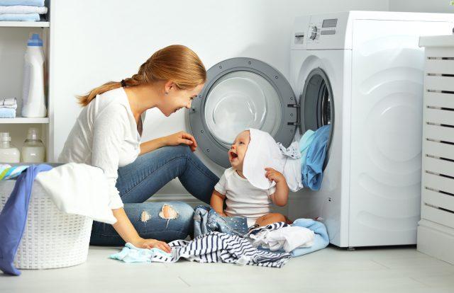 親子と洗濯機