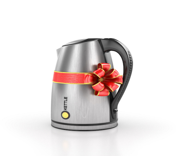 Kitchen appliances. Kettle in gift ribbon. 3d illustration
