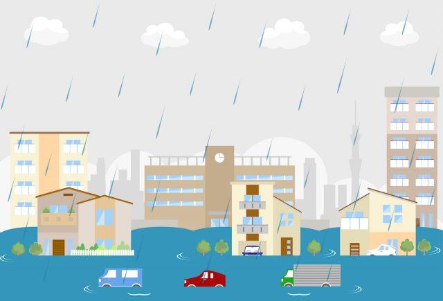 洪水になる街
