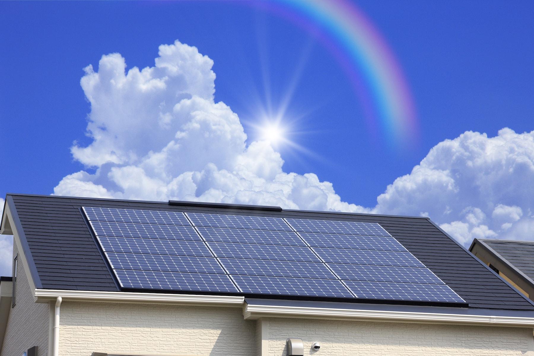 太陽光発電パネルがついている家