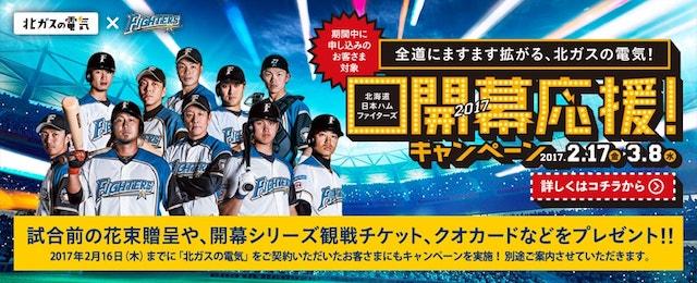 北ガスの電気で日本ファイターズ観戦チケットが当たる!