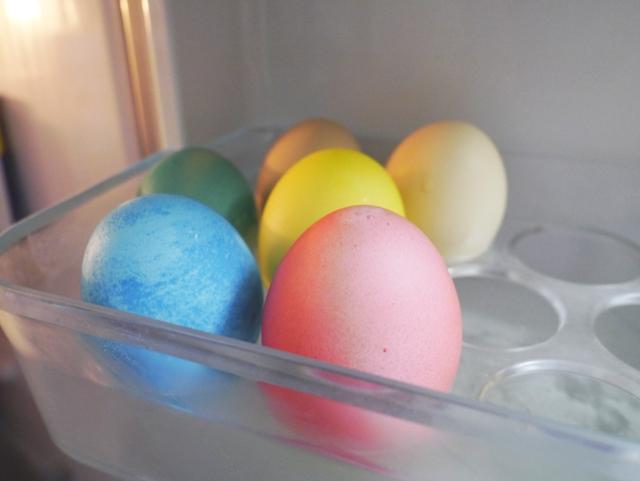 冷蔵庫でイースターエッグを保管中
