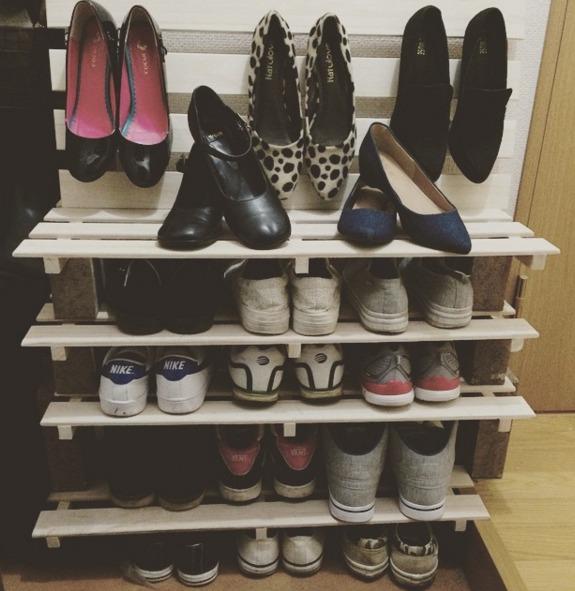 すのこで作った靴箱